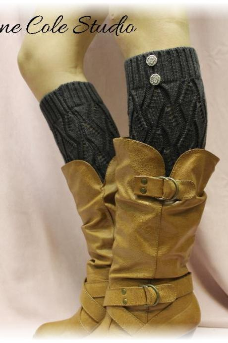 CHARCOAL GREY Open crochet knit leg warmers LW18 / womens knit pattern great with cowboy boots by Catherine Cole Studio legwarmers