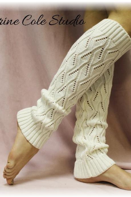 CREAM basic Open crochet knit leg warmers / womens knit pattern great with cowboy boots by Catherine Cole Studio legwarmers