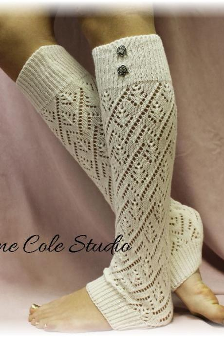 CREAM Pointelle patterned legwarmers for women
