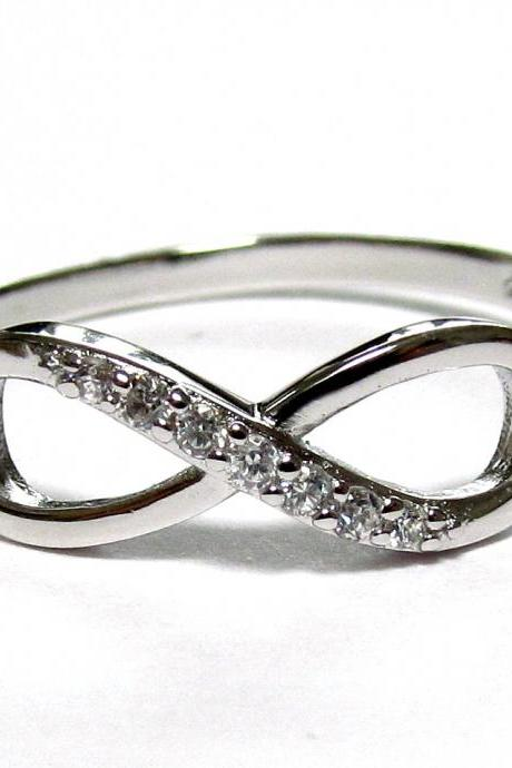 Infinity Ring-Rhodium Over Sterling Silver Ring With Cubic Zirconia Size 8