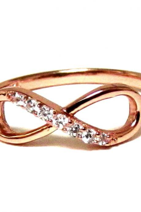 Infinity Ring-Rose Gold Over Sterling Silver Ring With Cubic Zirconia Size 7