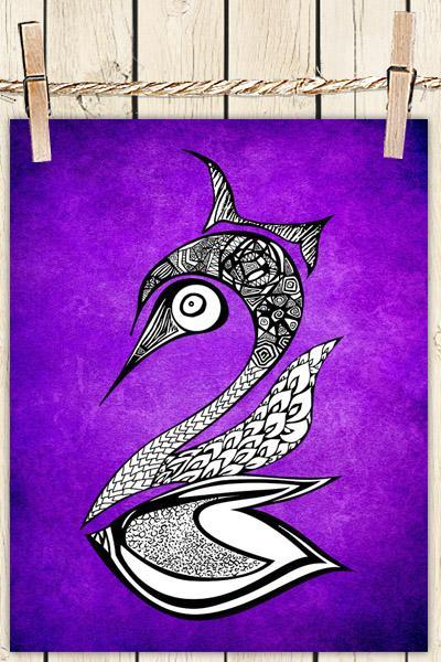 Poster Print 8x10 - Purple Swan - of Fine Art Illustration for Your Wall Decor
