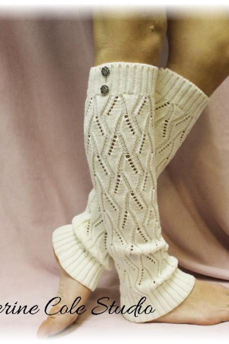 OPULENT ELEGANCE in Dreamy Cream, A chic knit legwarmer with sophistication, Perfect compliment for your boots by Catherine Cole Studio LW18