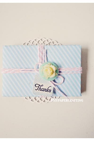 6 tiny Spring Rain light blue envelope / pack