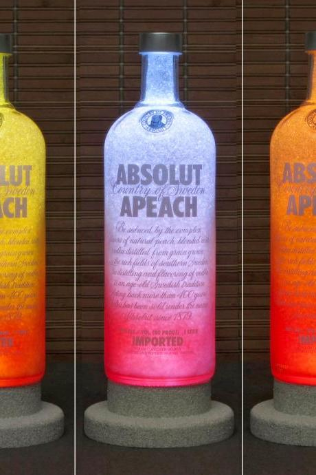 Absolut Peach Vodka Color Changing LED Remote Controlled LED Bottle Lamp Bar LightBodacious Bottles