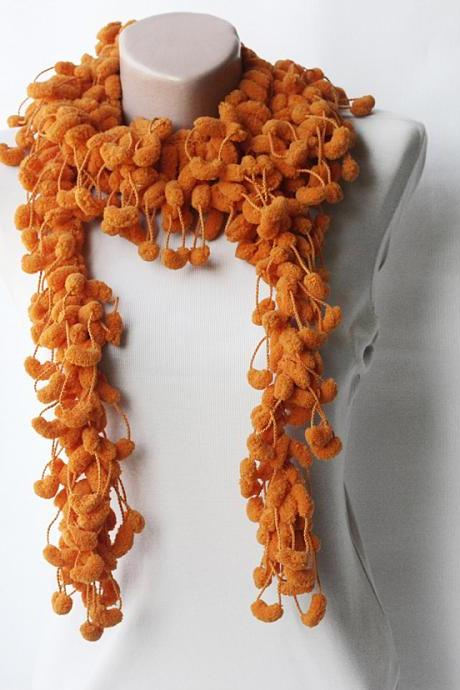 Orange crochet scarf