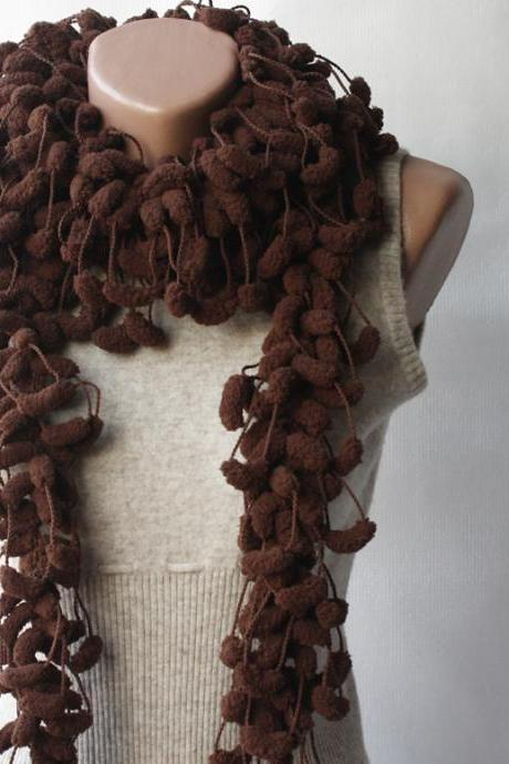 Brown crochet scarf