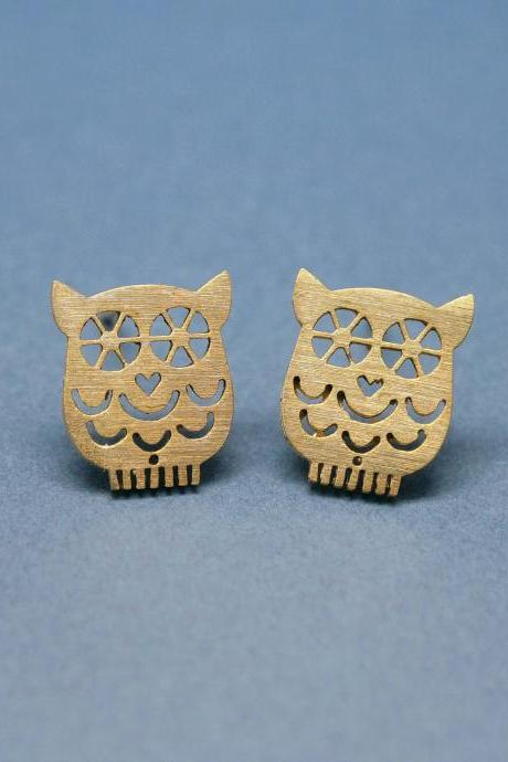 unique Owl earrings in gold