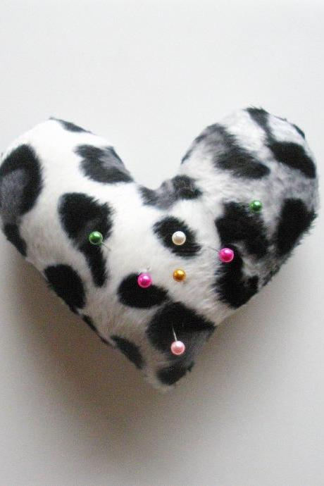 Heart Shaped Leopard Print Pin Cushion in White, ready to ship.