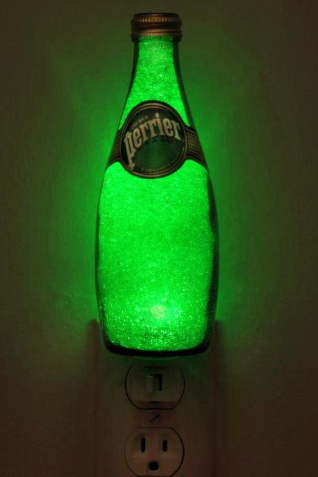 "11oz Perrier Jumbo Night Light /Accent Lamp- VIDEO DEMO-11 yr. Eco LED ""Diamond Like"" Glass Crystal Coating on interior"