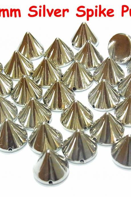 100 pcs 10mm DIY Silver Metal Spike Cone Punk FlatBack Studs Hotfix Iron On Glue On for iPhone Case, Shirt or Crafts