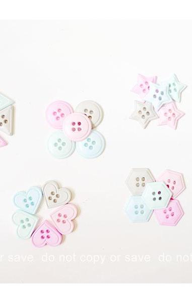 5 pieces of shape buttons