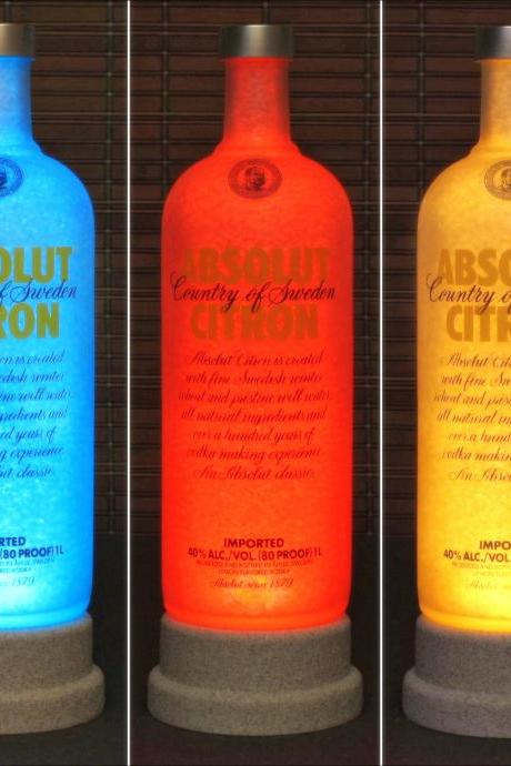 Absolut Citron Vodka Color Changing LED Remote Controlled Bar Light Intense Sparkle-Bodacious Bottles-