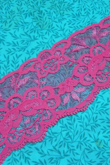 SALE 1 yard of 2 1/2 inch Pink Stretch elastic lace trim for bridal, baby headband, lingerie, garter by MarlenesAttic - Item P3