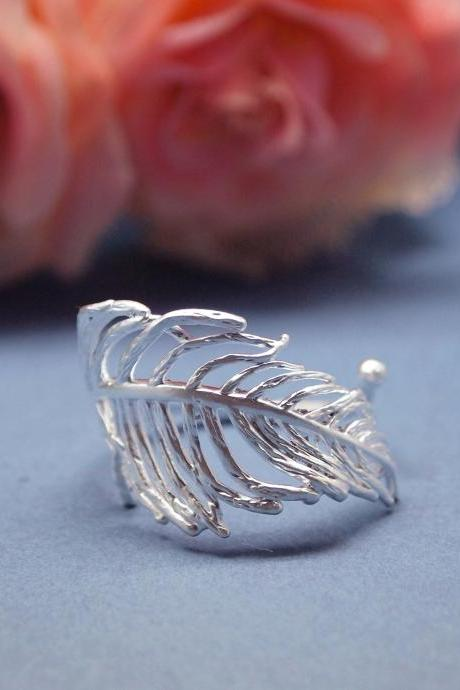Feather Adjustable Ring-Silver