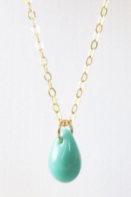 Turquoise Drop Necklace, 14kt Gold Filled Necklace, Gift for Her
