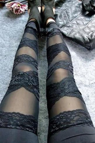 Sexy Punk Lace Stripes Style Leggings