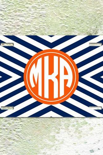 License plate personalized geometric blue and orange chevron monogrammed car tag metal plate