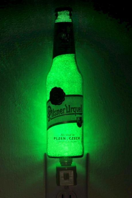 "Pilsner Urquell 12oz Beer Jumbo Night Light / Accent Lamp Eco LED...""Diamond Like"" Glass Crystal Coating on interior"