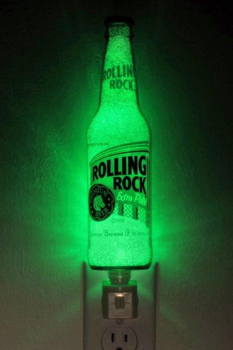 "12oz Rolling Rock Night Light / Accent Lamp- VIDEO DEMO- Eco LED...""Diamond Like"" Glass Crystal Coating on interior"