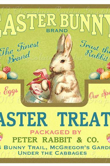 Easter Candy Treats Bunny Label Digital Download Printable Tags Scrapbook Collage Sheet Print Yourself Image