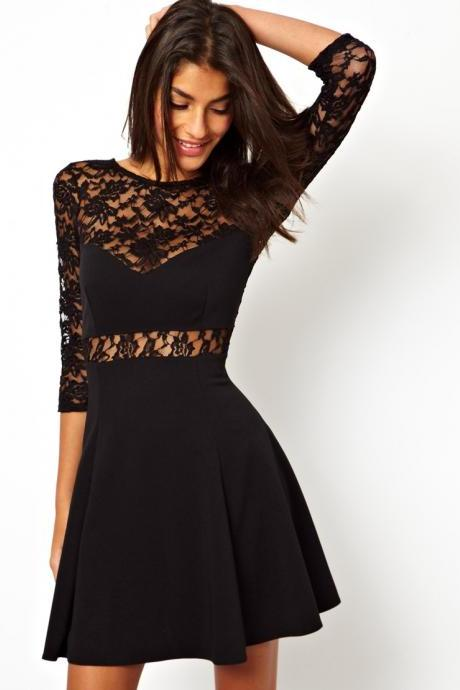 Women Long Sleeve Mini Black Dress
