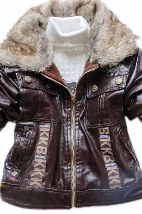 Brown Leather Jacket for Boys with Warm Fur Collar Motorcycle Leather Style Jacket