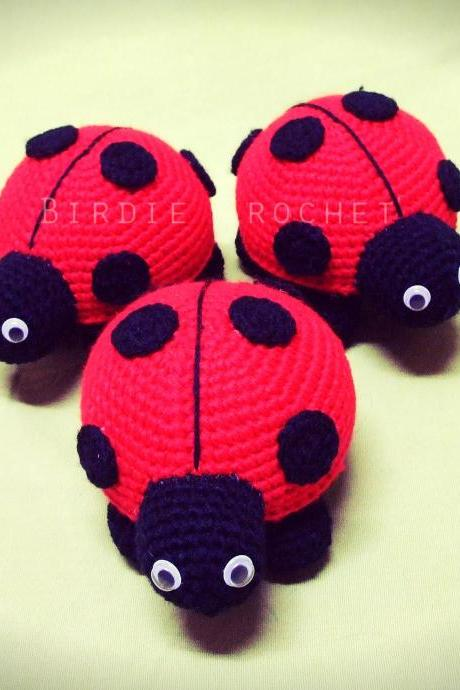 Lady Bug - Finished Handmade Amigurumi crochet doll Home decor birthday gift Baby shower toy (Price for 1)