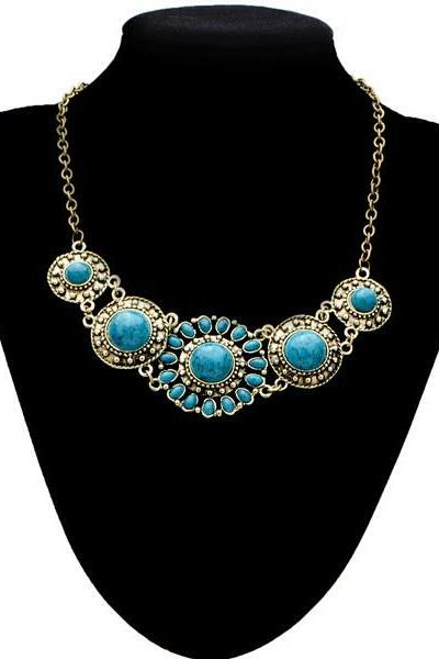 vintage blue bronze necklace