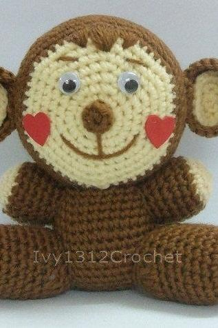 Monkey with Heart Cheeks - Handmade Amigurumi crochet doll birthday Valentine gift Baby shower toy