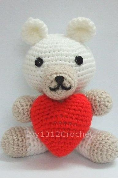 Bear with Heart - Finished Handmade Amigurumi crochet doll Home decor birthday Valentine gift
