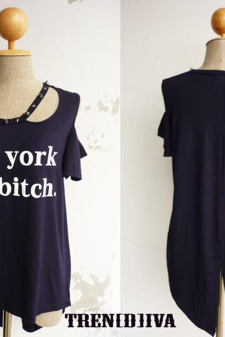New York City Bitch Women T-Shirt (Navy) FREE SIZE