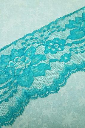 1 yard of 3 inch Teal Green chantilly lace trim for bridal, baby, lingerie, home decor by MarlenesAttic - Item P5