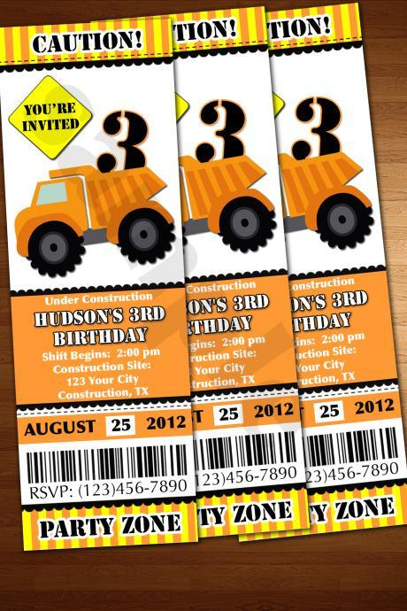 Construction Invitation ticket invite dump truck printable diy