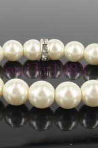 Wedding Jewelry Bridal Bracelet Bridesmaid Bracelet 1 strand of Crystal White Swarovski Pearls with rhinestone Spacers Bracelet