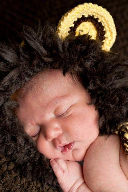 pdf crochet pattern( how to tutorial) Lion hat size 0-3 month only