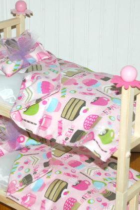 Doll Bunk Bed - Sweetie Bunk Bed with Sweetcakes Bedding - Fits American Girl Doll and 18 inch dolls