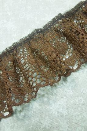 1 yard of 2 inch Brown Ruffled Chantilly Lace trim for bridal, baby, altered couture, lingerie by MarlenesAttic - Item ZS