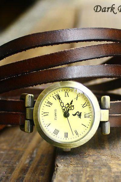 Vintage Style 5 circles dial Leather Retro Watch-Dark brown