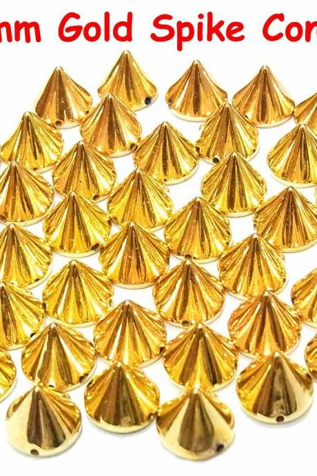 50 pcs 10mm DIY Gold Metal Spike Cone Punk FlatBack Studs Hotfix Iron On Glue On for iPhone Case, Shirt or Crafts