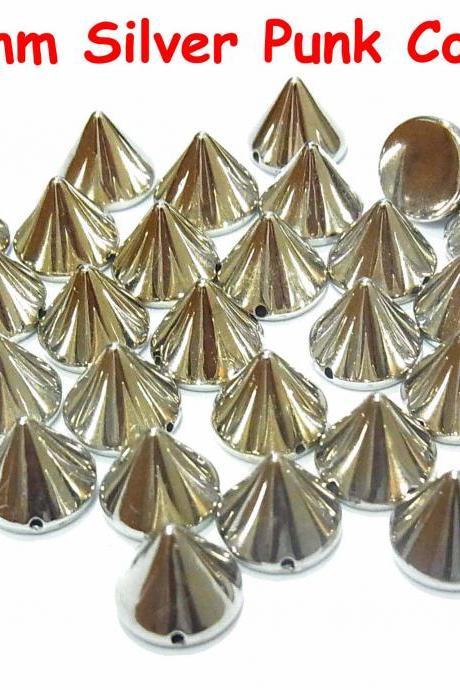 50 pcs 10mm DIY Silver Metal Spike Cone Punk FlatBack Studs Hotfix Iron On Glue On for iPhone Case, Shirt or Crafts