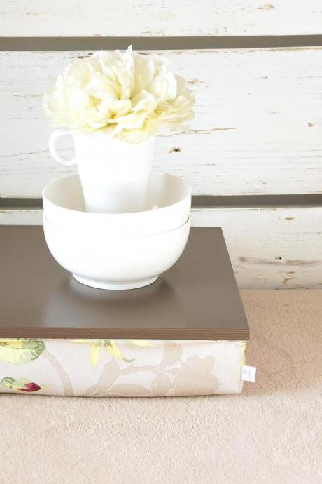 Stable table, iPad stand or Breakfast serving Tray - Greyish brown with Rose Floral print Pillow