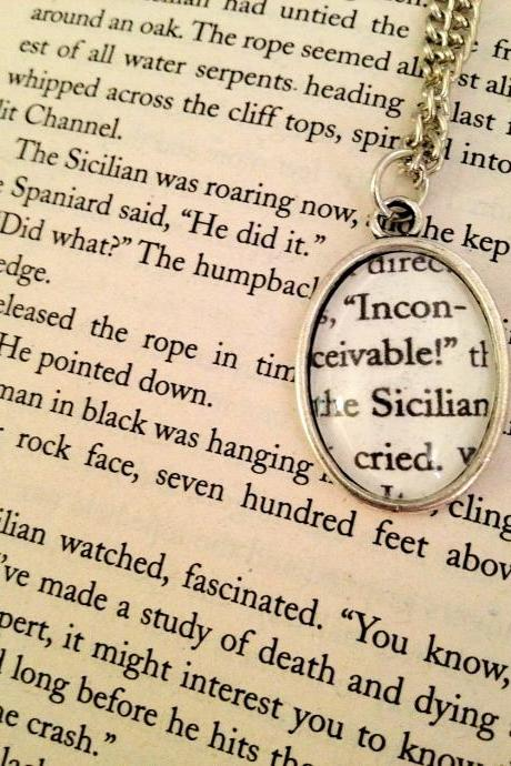 The Princess Bride Inconceivable Antiqued Silver Book Page Necklace
