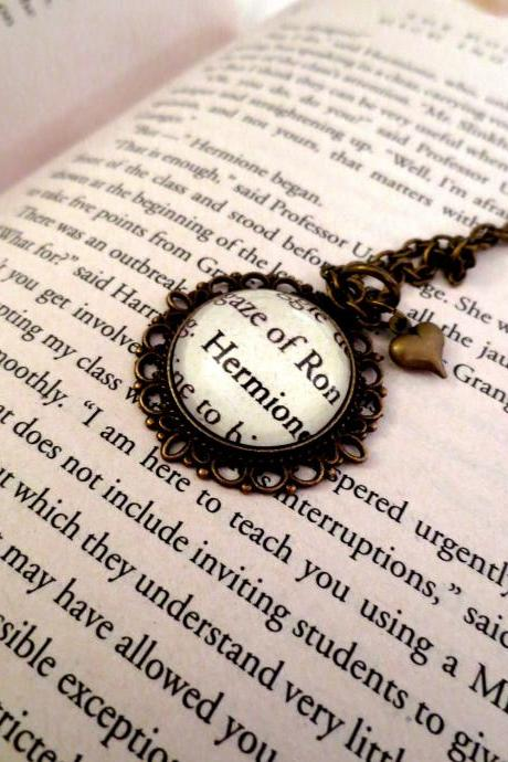 Ron Weasley and Hermione Granger from Harry Potter Antiqued Bronze Book Page Necklace