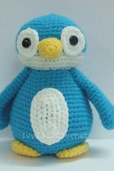 Blue Penguin - Finished Handmade Amigurumi crochet doll Home decor birthday Baby shower gift
