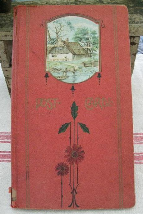 Antique Post Card Holder Album with 7 Post Cards