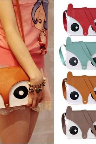 Womens Ladies Retro Shoulder Bag Messenger Handbags School Tote Owl Fox PU Purse