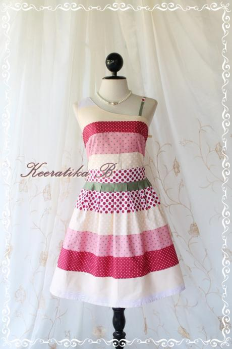 Colorful Time - Spring Summer Collection Simply One Shoulder Party Simply Sundress Polka Dot And Patched Print