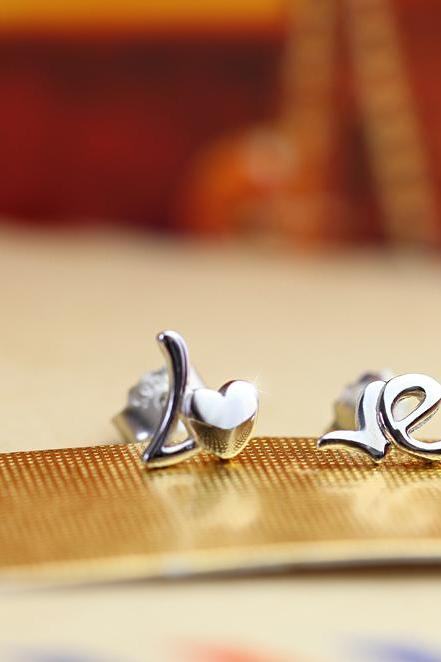 Tiny LOVE Sterling Silver Stud Earrings