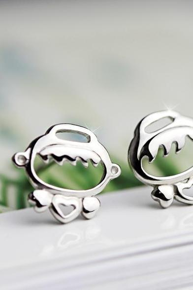 Tiny Cute Girl and Boy Sterling Silver Stud Earrings